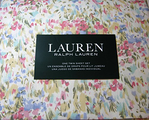 Lauren 3 Piece Twin Size Watercolor Abstract Floral Sheet Set 100% Cotton Multi Color (Twin Sheet Fitted Lauren Ralph)