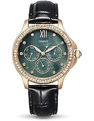 Time100 Women Fashion Shell Dial Bling Diamond Three Sub-dial Leather Quartz Analoge Watches