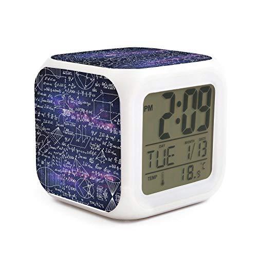 kanidjkd Wake Up Purple Galaxy Math Functions Equations Dimmer Snooze LED Nightlight Bedroom Desk Travel Digital Bed Alarm Clock for Kids Girls