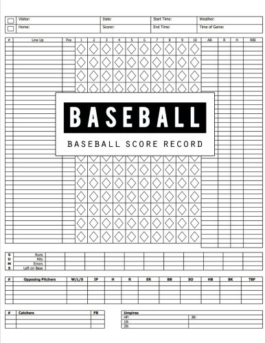 - Baseball Score Record: Baseball Game Record Keeper Book, Baseball Score, Baseball score card has many spaces on which to record, Size 8.5 x 11 Inch, 100 Pages