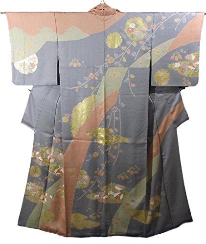 楽しませる苗脆いリサイクル 着物 訪問着 霞や雪輪に菊や梅の花模様 正絹 袷 裄64cm 身丈165cm