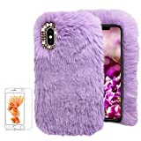 For iPhone X/iPhone XS 5.8 inch Soft Warm Plush Case [with Free Screen Protector],Funyee Artificial Fluffy Villi Wool Cute Plush Soft Silicone TPU Case for iPhone X/iPhone XS 5.8 inch with Shiny Diamond,Purple