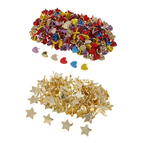 - Prettyia 300 Pieces Star Heart Head Metal Brad Paper Fastener Embellishments for Kids Cardmaking Scrapbooking Art Crafts