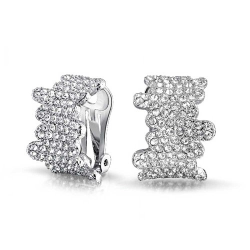 - Bridal Prom Geometric Zig Zag Pave Crystal Dome Half Hoop Clip On Earrings Women Non Pierced Ears Silver Plated Brass