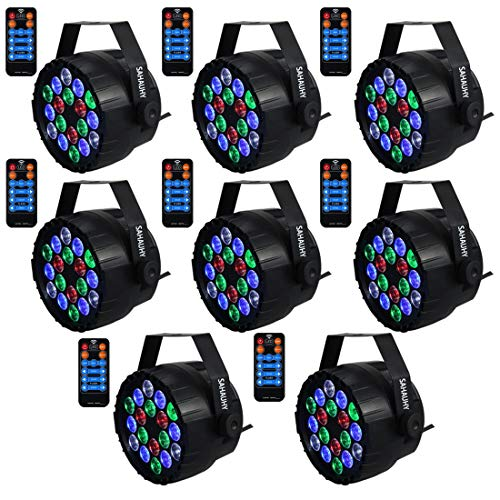 Stage Lights,SAHAUHY RGBW 18 Leds Uplights Par Lights Sound Activated Or DMX Control Dj Lights Up Lighting with Remote for Wedding Party(8Packs) ()