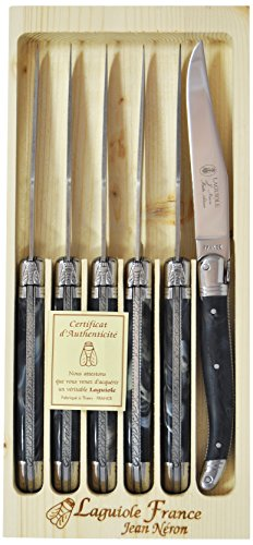 Neron Coutellerie Laguiole 6 Piece Handcarved Steak Knife Set with Plates and Black Marble Handle with Wooden Box by Jean Neron by Neron Coutellerie