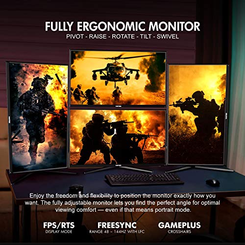 VIOTEK GFI27QXA 27-Inch 4K UHD 120Hz Gaming Monitor (144hz Overclocked) | 1ms HDR IPS DCI-P3 | G-Sync Ready, FreeSync | 2X HDMI 2.0 2X DP 1.4 | Height, Tilt, Swivel, Pivot | 3-Year Warranty, Black