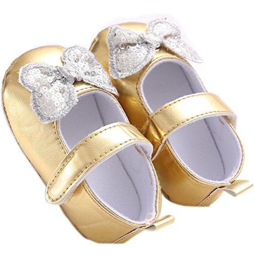 etrack-online bebé niña Prewalker Bling Bling mariposa Mary Jane zapatos rosa rosa Talla:12-18months dorado