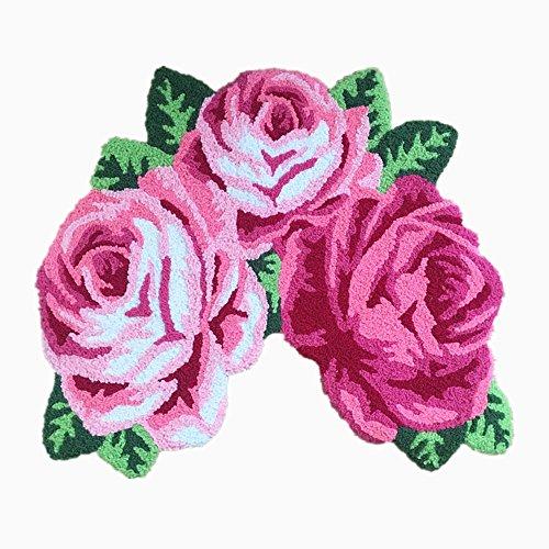 USTIDE Pink Rose Bath Mat Handmade Shower Rug Washable,Non Slip,Durable 31