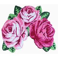 Ustide Pink Rose Bath Mat Handmade Shower Rug Washable ,Non Slip,Durable 31  by 24