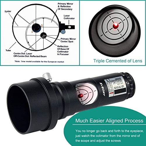SVBONY Red Laser Collimator for Newtonian Marca Telescope Alignment 1.25 inch 7 Bright Levels Triple Cemented Lens with 2 inches Adapter and UHC Filter