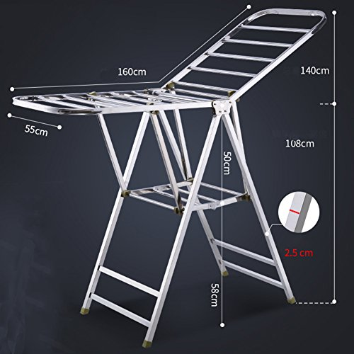 Stainless steel folding clothes rack,Ground Foldable drying rack Clothes hanger hanger stainless steel air-wing clothes hanger balcony interior-B