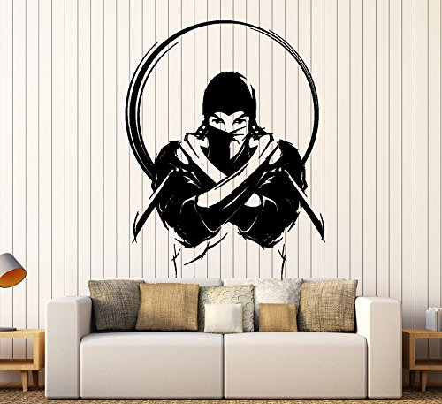Wall Vinyl Decal Ninja With Knife Sword Japan Japanese Warrior z4063 Grey ()