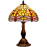 Tiffany style table lamp light S036 series 18 inch tall dark red dragonfly shade E26