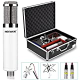 Neewer® NW-980 Professional Microphone Set: (1)Condenser Microphone with Replaceable Enclosure+(1)Shock Mount+(1)Pop Filter+(1)48V Phantom Power+(1)Adapter+(2)Audio Cables+(1)Protective Case