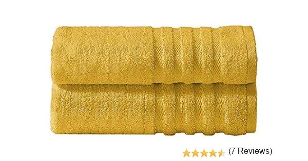 Divine Textiles - Juego de toallas (algodón egipcio, 600 g/m²), amarillo mostaza, 2 x Bath Towels: Amazon.es: Hogar