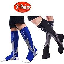 2 Pairs Compression Socks Women & Men - 20-30mmHg Graduated Knee High Socks - for Sport Medical, Athletic, Edema, Diabetic, Varicose Veins, Travel, Pregnancy, Shin Splints, Nursing (S/M,L/XL,XXL)