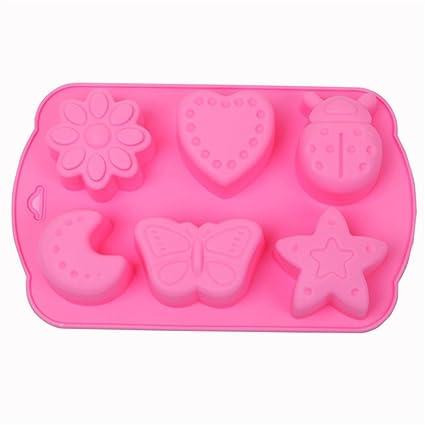 MKNzone 1 moldes de silicona DIY , tartas, chocolate - Estrellas, luna e insectos