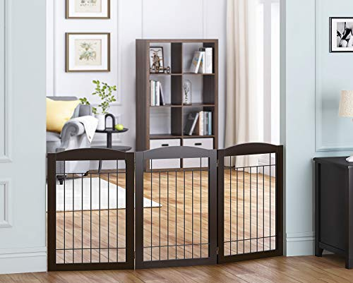 Spirich Freestanding Foldable Wire Pet Gate for Dogs, 60 inches Extra Wide, 30 inches Tall 3 Panels Dog Gate for The Houes, Doorway, Stairs, Pet Puppy Safety Fence (Espresso, 3 Panels)