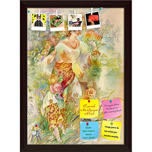 Artzfolio Young Woman in Ukrainian Costume Printed Bulletin Board Notice Pin Board | Dark Brown Frame 16 X 22.2Inch]()