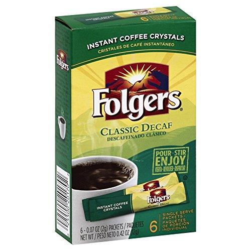 Folgers Classic Roast Decaf Instant Coffee, Single Serve Packets, 6 Count (Pack of 12) Crystal Single