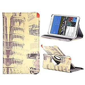 LZX Tower Of Pisa PC+Leather 360 Degree Rotate Flip Stand Case with Elastic Belt for Samsung Galaxy Tab Pro 8.4 T320