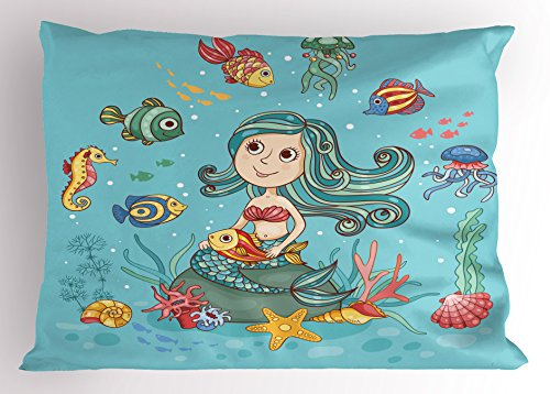 Underwater Pillow Sham by Ambesonne, Cartoon Characters Fish and Seashells with Mermaid Girl Rainbow Underwater Animals, Decorative Standard Size Printed Pillowcase, 26 X 20 Inches, Seafoam (Shells Sham Standard)