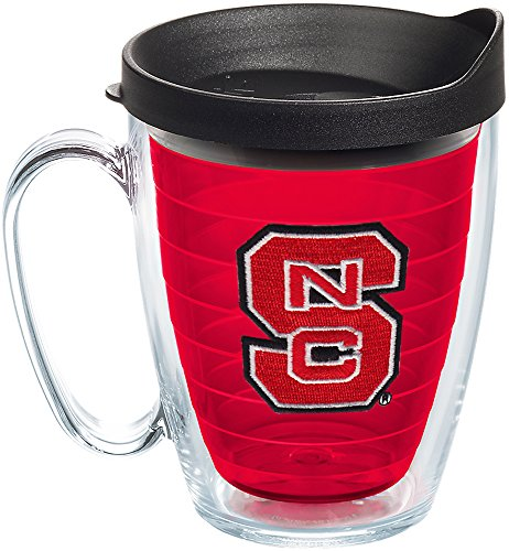(Tervis 1239042 NC State Wolfpack Logo Insulated Tumbler with Emblem and Black Lid, 16oz Mug, Red)
