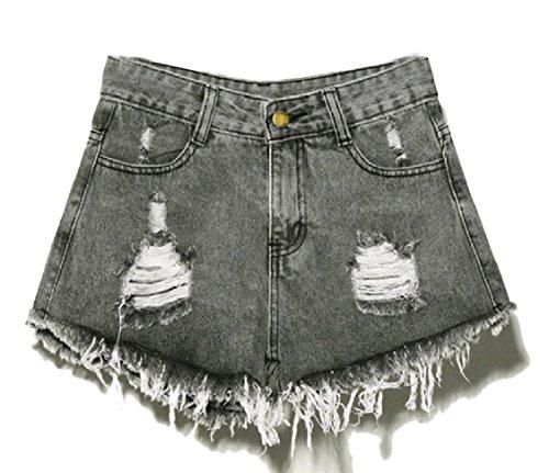 持続的雑品磨かれたGodeyesW 女性のプラスサイズのデニムの上に腰の高い低いホールの短いホットパンツ