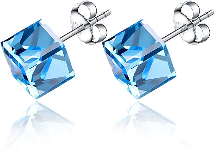 Childrens Girls Sterling Silver Blue Crystal FLOWER Stud Earrings Gift Boxed