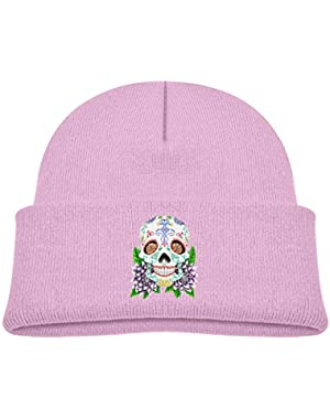 Kids Knitted Beanies Hat Sugar Skull Winter Hat Knitted Skull Cap for Boys Girls Pink