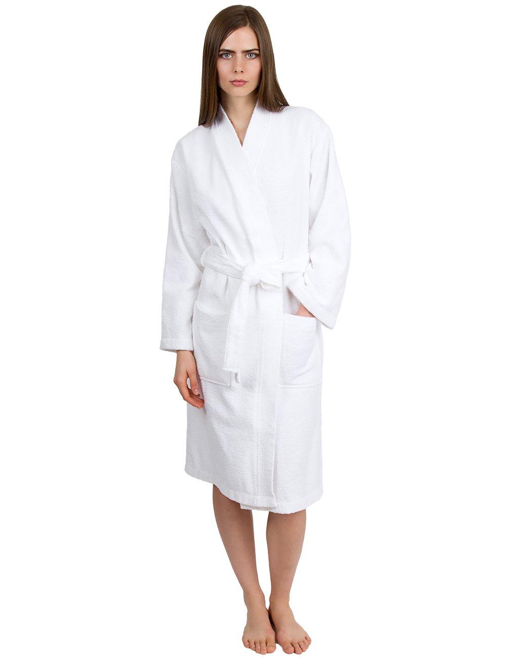 TowelSelections Women's Robe Turkish Cotton Terry Kimono Bathrobe Small/Medium White