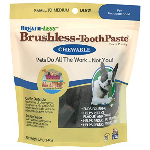 Ark Naturals Breath-less Brushless Toothpaste, Dental Chews for Small and Medium Dogs, Plaque, Tartar, and Bacteria Control, Chewable, Easy Digestion, Mess Free, Natural Ingredients, 12 oz. Bag