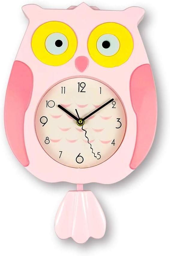 ufengke Reloj de Pared con Péndulo Infantil Diseño de Buho Rosa Divertidos para Salon Dormitorio, 24.5 x 39 cm