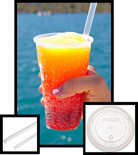 15 count 32 oz Clear PET Plastic Cup and Flat Straw Slotted Lid, Dart Solo w/Clear Giant Straws