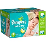 Pampers Baby Dry Newborn Diapers Size 1, 174 Count