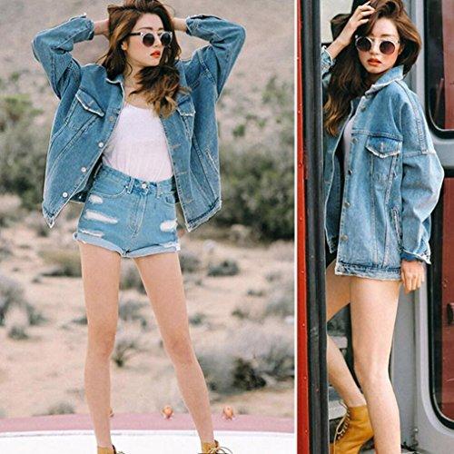 Loose ami femme veste Transer denim manteau surdimensionne petit cool jeans Bleu Retro Casual tSwBqxY