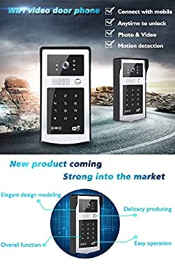 Wi-Fi Video Doorbell Pro Password Unlock By Card Visual Doorbell HD Video Night Vision Support Remote Unlocking Motion Sensor Panel Door Camera Waterproof Video Phone