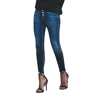 6f044076168b9 Jean Femme Taille Haute Skinny Gland Pantalon Femme Slim Élastique Bouton  Tassel Pantalons en Jean Ample