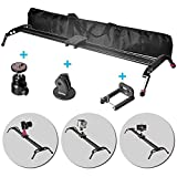 Fomito 47'' Camera Slider Dolly Track Glider System Stabilizer with CNC Machining for DSLR Video Camera-120cm