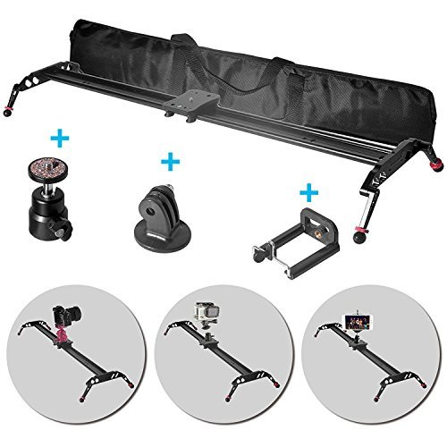 Fomito 47'' Camera Slider Dolly Track Glider System Stabilizer with CNC Machining for DSLR Video Camera-120cm by Fomito