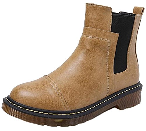 DADAWEN Women's Stylish Faux Leather Ankle Chelsea Boots Yellow