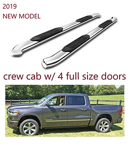 """Refineon Side Steps Running Boards Fit 2019-2020 Dodge ram 1500 Crew Cab New Body (4 Full Size Doors) (NO 2019 Classic) 4"""" Chrome Oval Bend Nerf Bars Side Bars Side Rails (2pcs)"""
