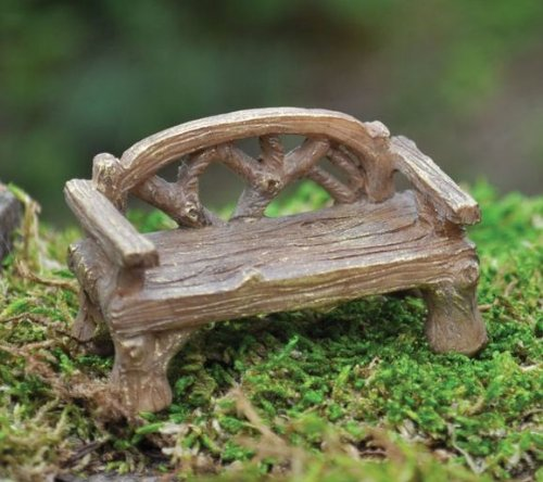 Georgetown Rustic Bench Fiddlehead Fairy Accessory