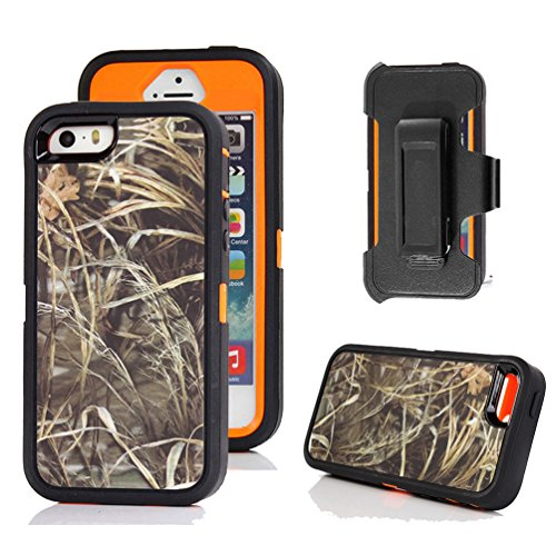 - iPhone 5s Case, Harsel Defender Series Heavy Duty Realtree Camo Impact Tough Rugged Armor Hybrid Military w' Belt Clip Built-in Screen Protector Case Cover for iPhone SE/iPhone 5S (Grass/Orange)