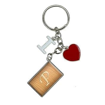 Amazon.com: Carta P grabado de madera I corazón amor llavero ...