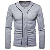 Clearance Men's Casual Button Down Long Sleeve Shirt - vermers Mens Fashion Patchwork V-Neck Solid T Shirt Tops(M, Gray)