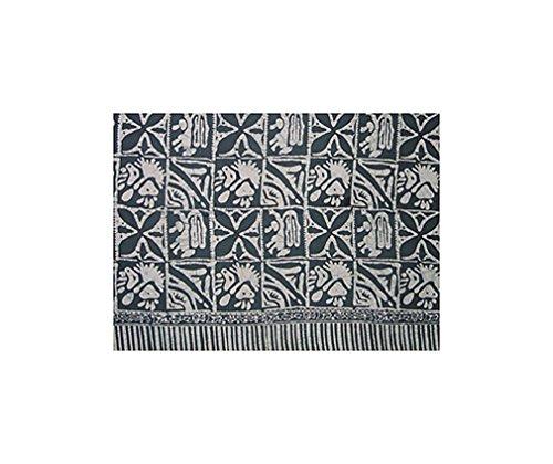Batik Sarong - Hieroglyphs, Teal & White
