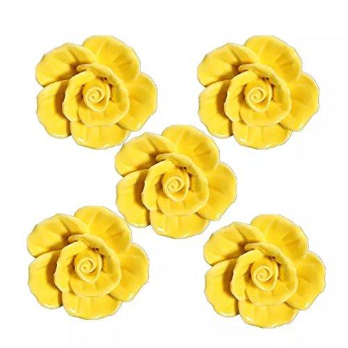 - CSKB Yellow 5 PCS 40mm Round Rose Ceramic Door Knob follow pattern lovely Handle Pull Knobs Door Cupboard Locker for kid's room Drawer,Cabinet,Chest, Bin, Dresser, Cupboard, Etc with Screws