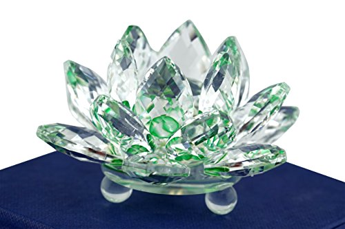 Mstechcorp High Quality Sapphire Sparkle Crystal 3 inch Decorative Clear Reflection Lotus Flower For Feng Shui Home Decor with Gift Box (Crystal Green)